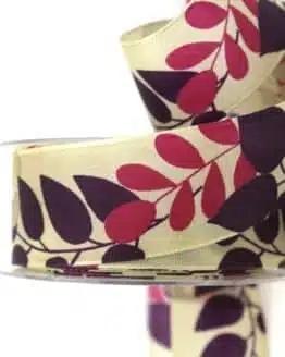 Geschenkband Blätter, lila, 40 mm breit - geschenkband-gemustert