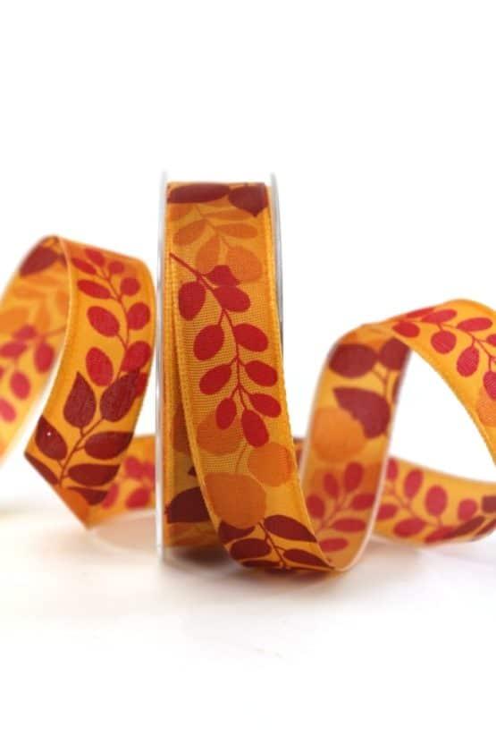 Geschenkband Blätter, orange, 25 mm breit - geschenkband-gemustert