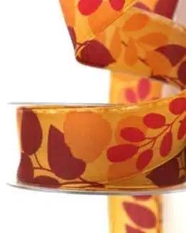 Geschenkband Blätter, orange, 40 mm breit - geschenkband-gemustert