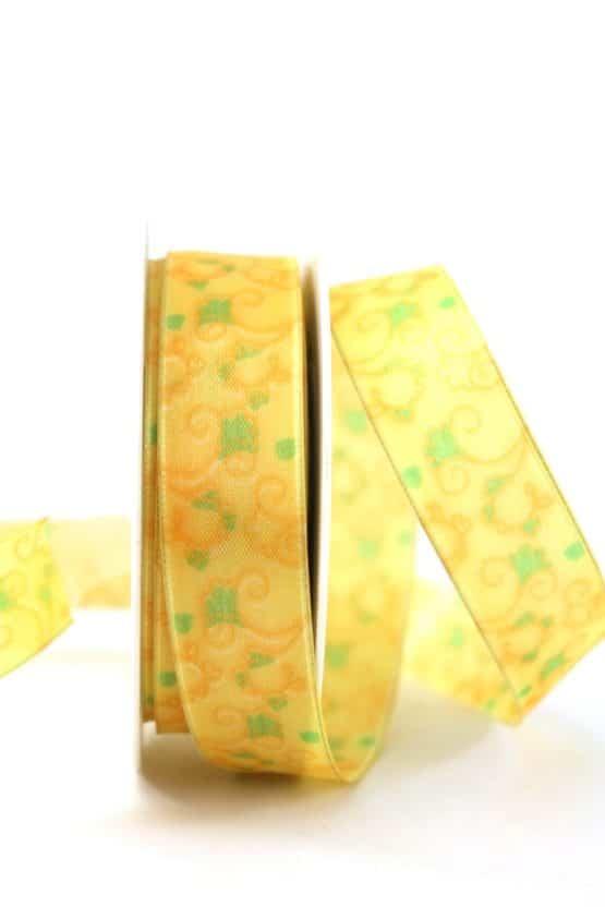Geschenkband Blütenranke, gelb, 25 mm breit - geschenkband-gemustert