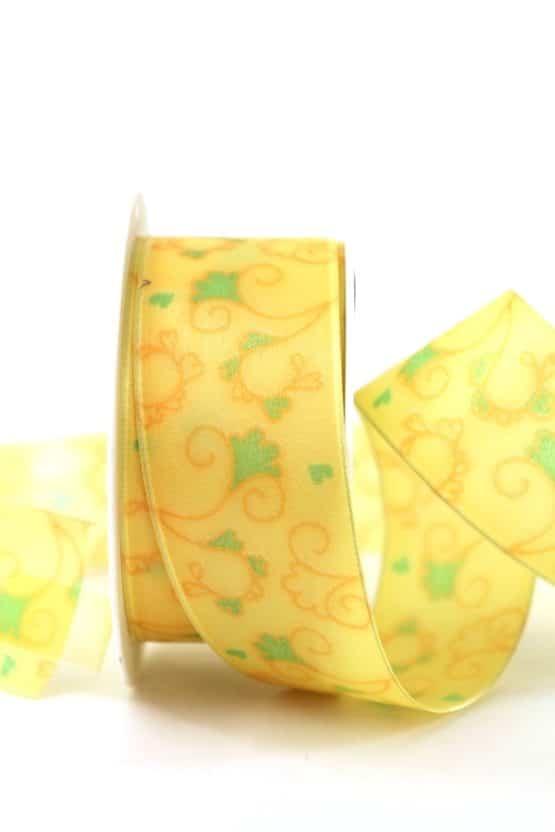 Geschenkband Blütenranke, gelb, 40 mm breit - geschenkband-gemustert