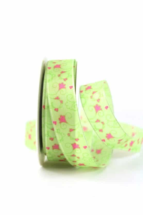 Geschenkband Blütenranke, grün, 25 mm breit - geschenkband-gemustert