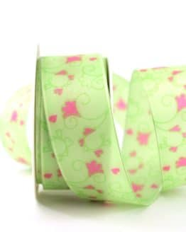 Geschenkband Blütenranke, grün, 40 mm breit - geschenkband-gemustert