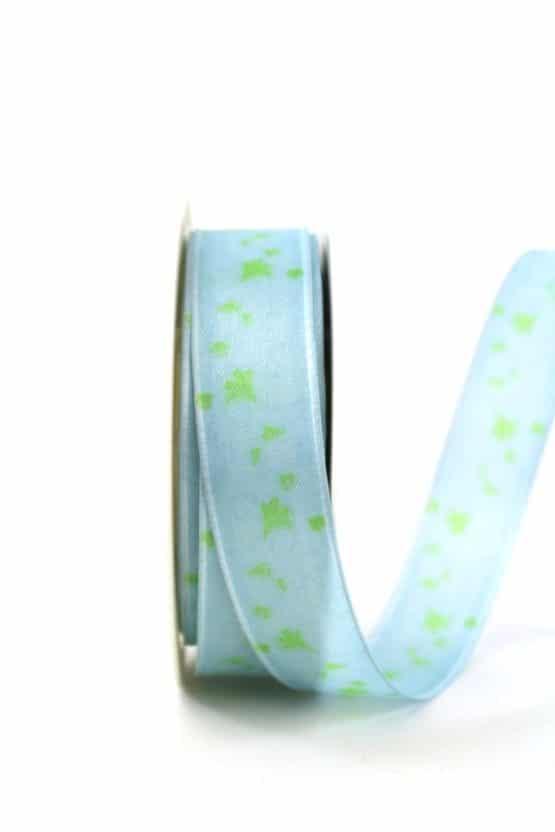 Geschenkband Blütenranke, hellblau, 25 mm breit - geschenkband-gemustert