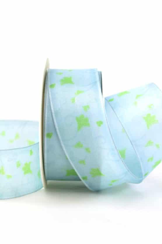 Geschenkband Blütenranke, hellblau, 40 mm breit - geschenkband-gemustert
