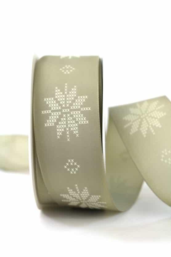 Geschenkband Eiskristalle, taupe/creme, 40 mm breit - geschenkband-weihnachten-gemustert, geschenkband-weihnachten