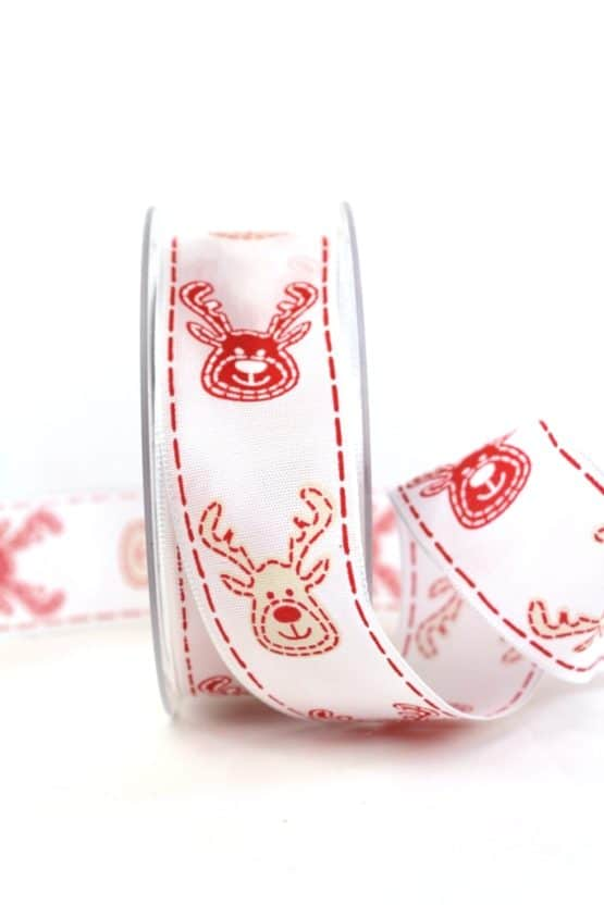 Geschenkband Elch, rot-weiß, 40 mm breit - geschenkband-weihnachten-gemustert, geschenkband-weihnachten