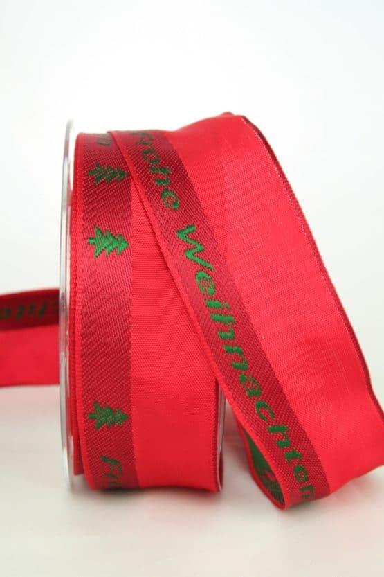 Geschenkband 'Frohe Weihnachten', rot-grün, 40 mm breit - sonderangebot, geschenkband-weihnachten