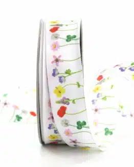 Dekoband Blumenwiese, 25 mm breit - geschenkband, geschenkband-gemustert, dekoband