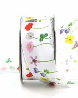 Dekoband Blumenwiese, 40 mm breit - geschenkband, geschenkband-gemustert, dekoband