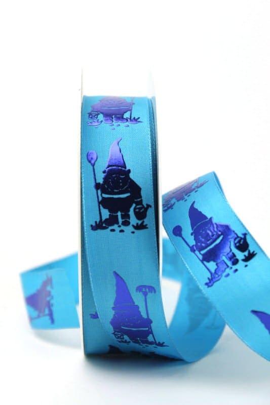 Dekoband Gartenzwerg blau, 25 mm breit - dekoband-mit-drahtkante