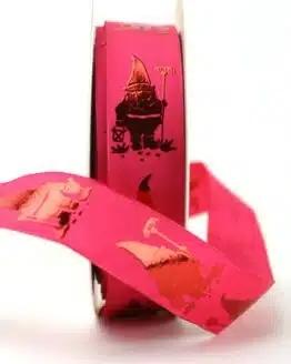 Dekoband Gartenzwerg pink, 25 mm breit - dekoband-mit-drahtkante