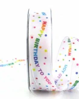 Geschenkband Happy Birthday, 40 mm - geburtstag, party, geschenkband-fuer-anlaesse, dekoband, anlasse