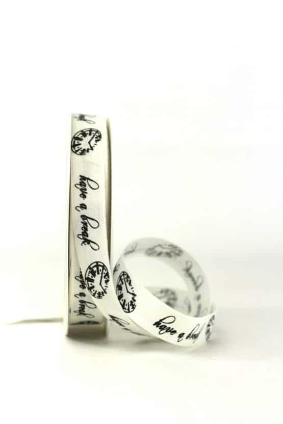 """Geschenkband """"Have a Break"""", creme, 15 mm breit - geschenkband-gemustert"""