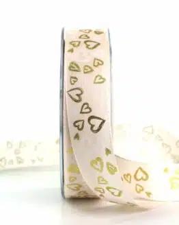 Satinband mit Herzen, creme-gold, 25 mm breit - valentinstag, organzaband, organzaband-gemustert, muttertag, geschenkband, geschenkband-mit-herzen, geschenkband-gemustert, geschenkband-fuer-anlaesse, anlasse
