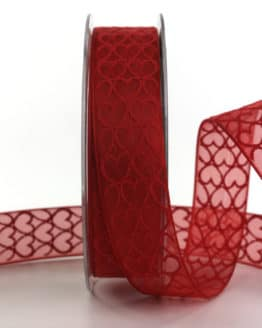 Organzaband mit Herzen, rot, 25 mm breit - valentinstag, organzaband, organzaband-gemustert, muttertag, geschenkband, geschenkband-mit-herzen, geschenkband-gemustert, geschenkband-fuer-anlaesse, anlasse