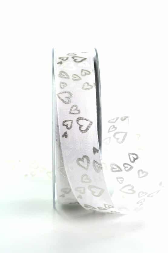 Satinband mit Herzen, weiß-silber, 25 mm breit - valentinstag, organzaband, organzaband-gemustert, muttertag, geschenkband, geschenkband-mit-herzen, geschenkband-gemustert, geschenkband-fuer-anlaesse, anlasse