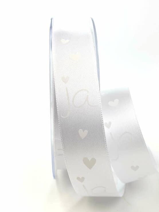 """Satinband """"JA"""", weiß-weiß, 25 mm breit - hochzeit, hochzeitsdeko, geschenkband-mit-herzen, anlasse"""