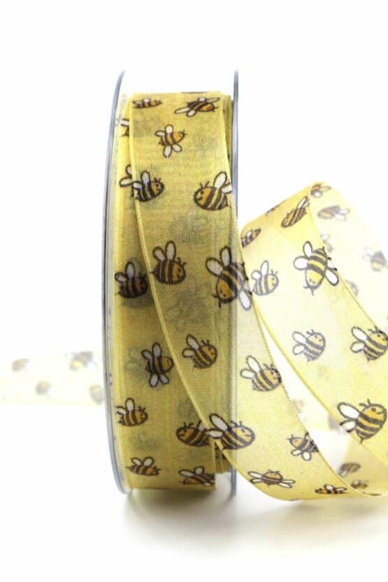 Dekoband Bienen, 25 mm breit - geschenkband, geschenkband-gemustert, dekoband