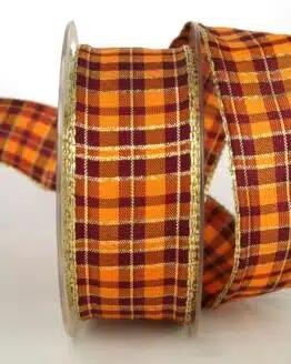 Karoband, 40 mm breit, terra-orange-bordeaux - sonderangebot, geschenkband-weihnachten-kariert, geschenkband-weihnachten