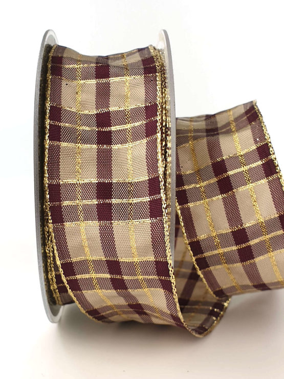 Karoband, 40 mm breit, aubergine-gold - sonderangebot, geschenkband-weihnachten-kariert, geschenkband-weihnachten