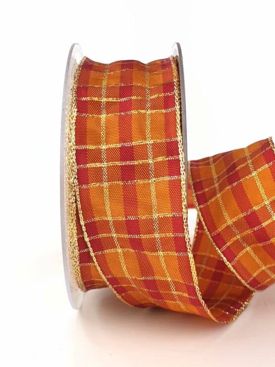 Karoband, 40 mm breit, orange-gold - sonderangebot, geschenkband-weihnachten-kariert, geschenkband-weihnachten