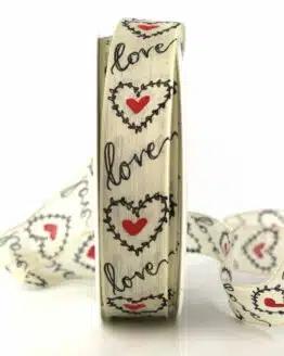"""Geschenkband """"Love"""" mit Herzen, 25 mm breit - valentinstag, geschenkband, geschenkband-mit-herzen, geschenkband-gemustert, geschenkband-fuer-anlaesse, anlasse"""