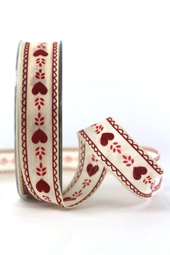 Geschenkband m. Herzen, rot, 25 mm breit - valentinstag, muttertag, anlasse