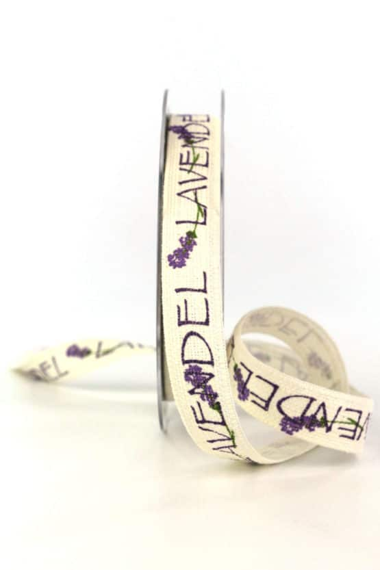Leinenband Lavendel, 15 mm breit - geschenkband, geschenkband-gemustert, dekoband