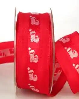 Geschenkband für Weihnachten, rot-weiß mit Nikolausstiefel, 40 mm breit - sonderangebot, geschenkband-weihnachten