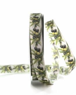 Dekoband Oliven, 15 mm breit - geschenkband, geschenkband-gemustert, dekoband