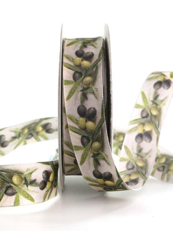 Dekoband Oliven, 25 mm breit - geschenkband, geschenkband-gemustert, dekoband