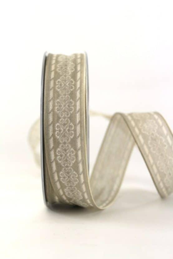 Geschenkband Ornament, taupe, 25 mm breit - geschenkband-gemustert