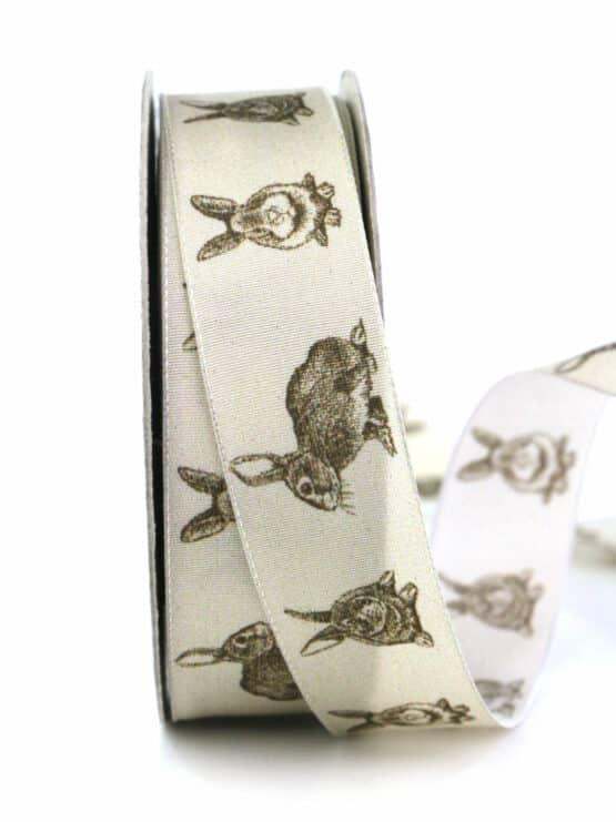 Geschenkband Osterhase, braun, 25 mm breit - ostern, geschenkband, geschenkband-gemustert, geschenkband-fuer-anlaesse, anlasse