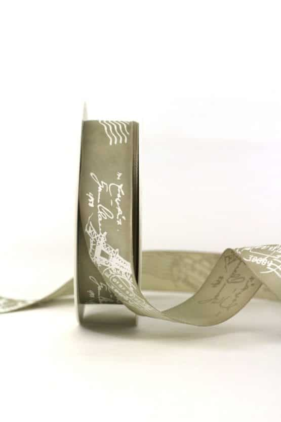 Taftband mit Poststempel aus Paris, taupe, 25 mm breit - geschenkband-gemustert