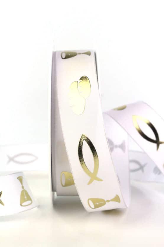Taftband m. Fisch, Brot und Kelch, weiß, 25  mm breit - hochzeit, kommunion-konfirmation, hochzeitsdeko, geschenkband-fuer-anlaesse, anlasse