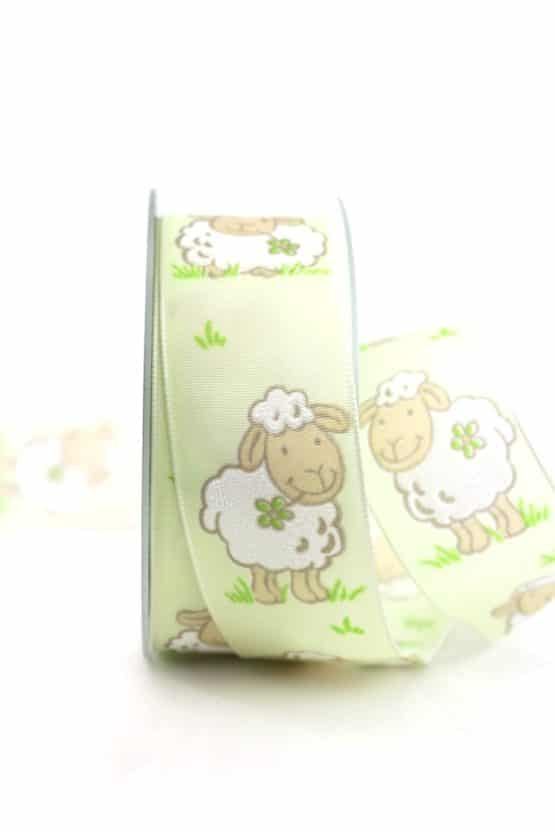 Geschenkband Schaf, hellgrün, 40 mm breit - geschenkband-gemustert, dekoband