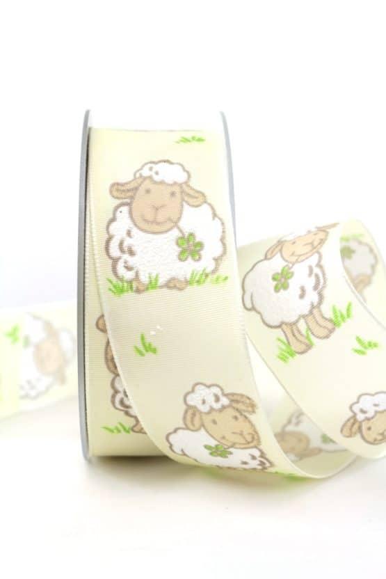 Geschenkband Schaf, creme, 40 mm breit - geschenkband-gemustert, dekoband