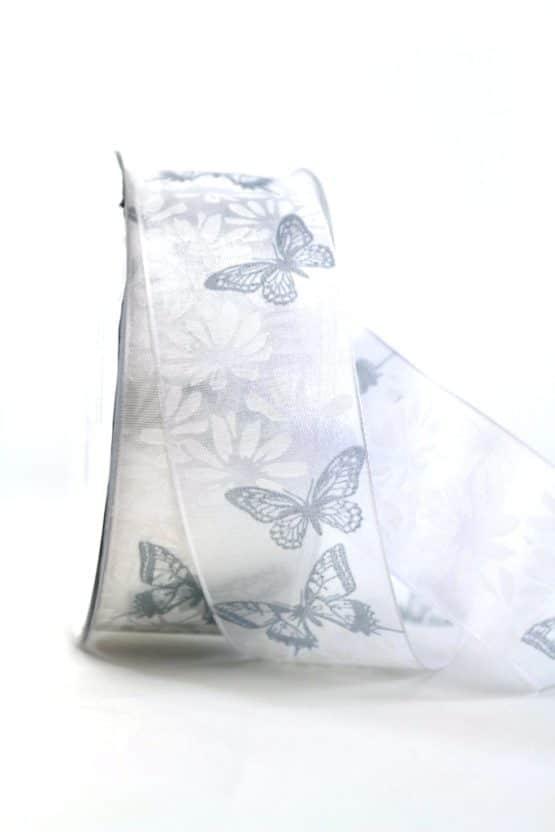 Geschenkband Schmetterlinge, weiß, 40 mm breit - geschenkband-gemustert