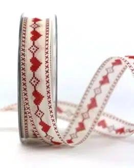 Geschenkband m. Herz, rot, 25 mm breit - valentinstag, muttertag, anlasse