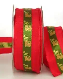 Geschenkband für Weihnachten, rot-grün mit Nikolausstiefel, 40 mm breit - sonderangebot, geschenkband-weihnachten