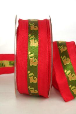 Geschenkband mit Nikolausstiefel, rot-grün, 40mm breit, mit Drahtkante