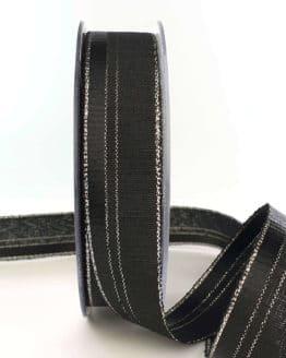 Dekoband / Trauerband schwarz-silber, 25 mm - trauerband, geschenkband-weihnachten-einfarbig, geschenkband-weihnachten