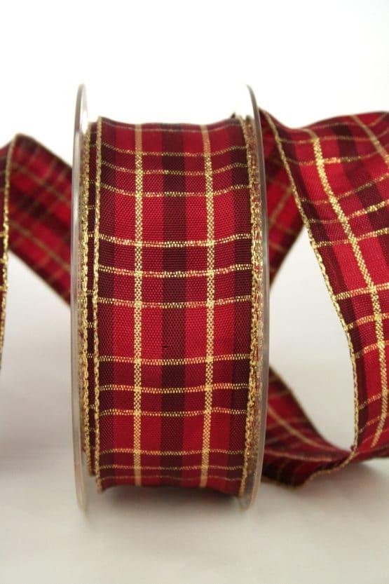 Karoband, 40 mm breit, creme-gold - sonderangebot, geschenkband-weihnachten-kariert, geschenkband-weihnachten
