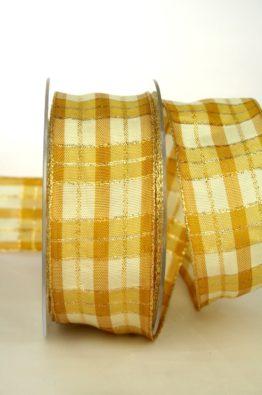 Geschenkband Weihnachten, Karoband, creme-gold, 40mm mit Drahtkante