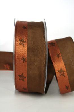 Geschenkband - Weihnachtsband in braun-terra, Sterne in braun gewebt, 40mm breit mit Drahtkante