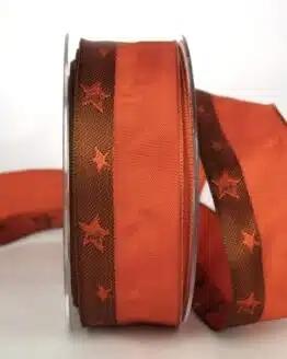 Exklusives Geschenkband für Weihnachten, terra/braun mit Sternen, 40 mm breit - sonderangebot, geschenkband-weihnachten