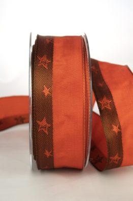 Geschenkband Weihnachtsband, terra-braun-orange mit Sternen, 40mm breit mit Drahtkante