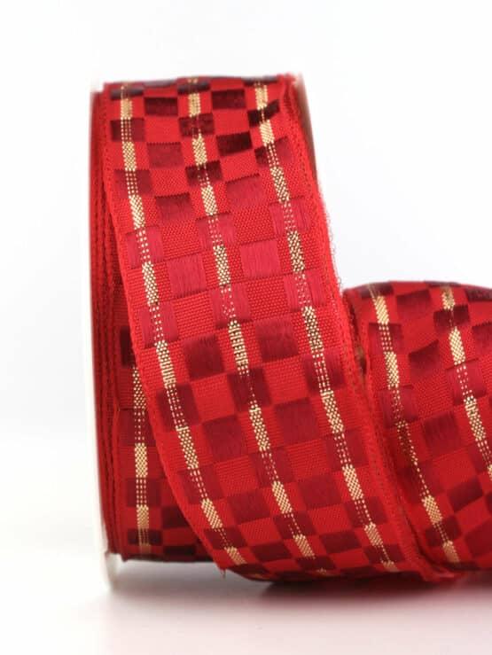 Geschenkband Weihnachtskästchen, rot-gold, 40 mm mit Draht - weihnachtsbaender, geschenkband-weihnachten-gemustert, geschenkband-weihnachten