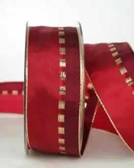 Geschenkband, 40 mm breit, rot-gold - sonderangebot, geschenkband-weihnachten